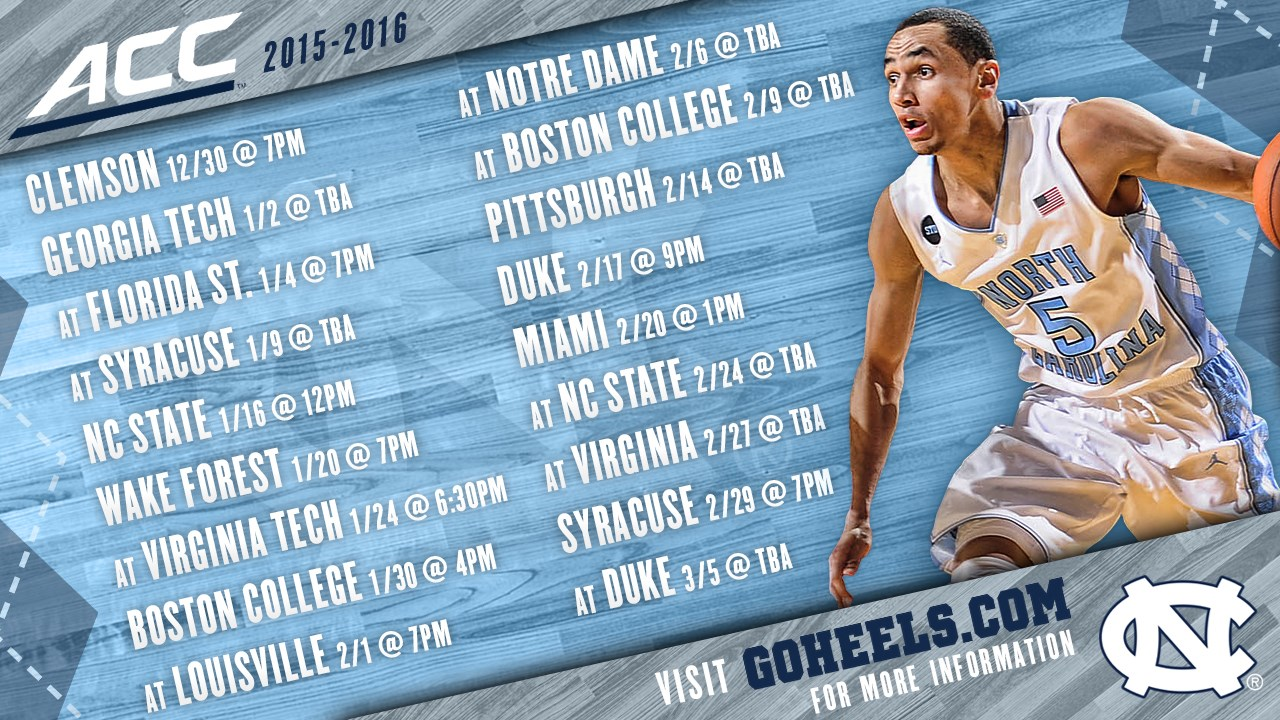2015-16 men's basketball schedule - university of north carolina