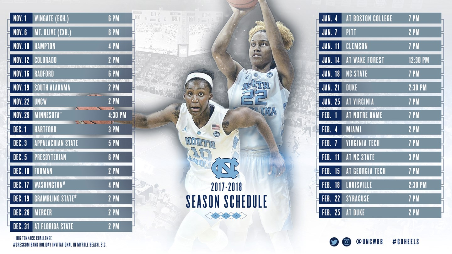 carolina releases 2017-18 schedule - university of north carolina