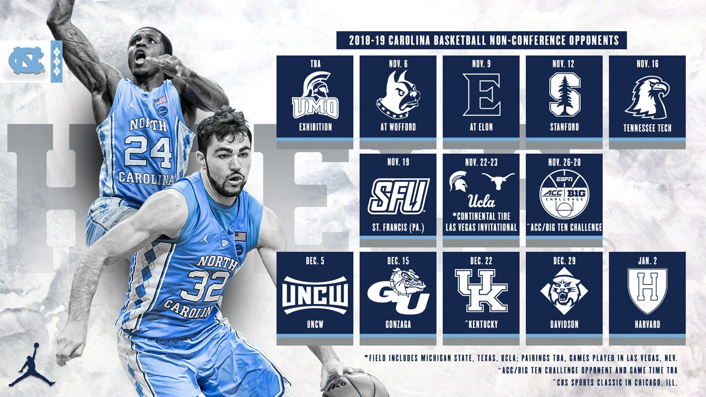 tar heels announce 2018-19 non-conference schedule - university of