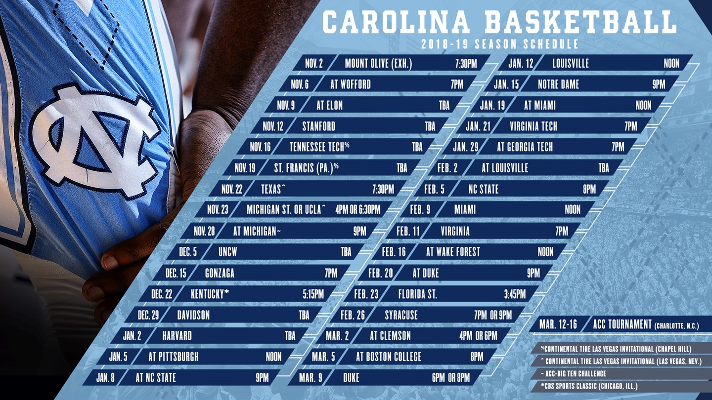 tar heels face another challenging schedule in 2018-19 - university