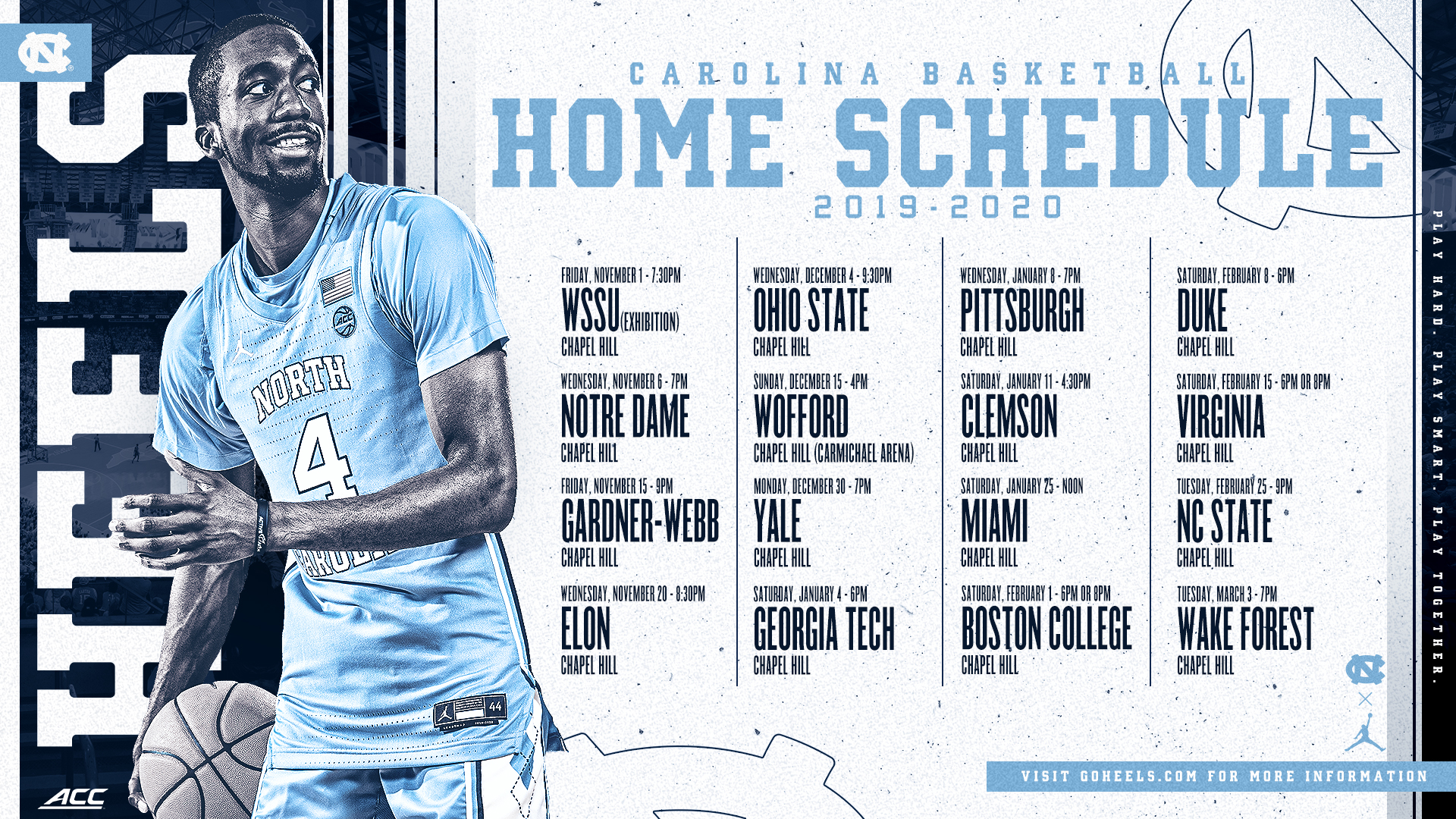 Unc Basketball Schedule 2020.Acc Announces Full 2019 20 Schedule University Of North