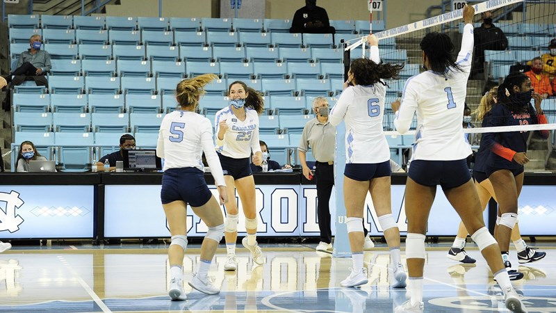 UNC Volleyball Outlasts Virginia, 3-1